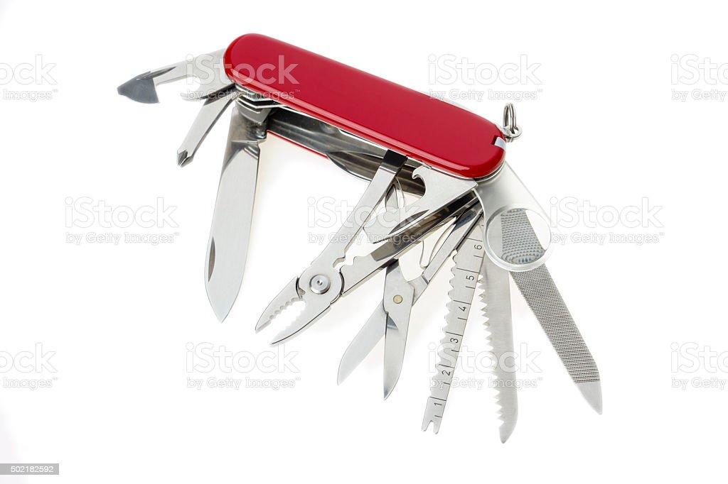 Pocket multipurpose knife on white stock photo