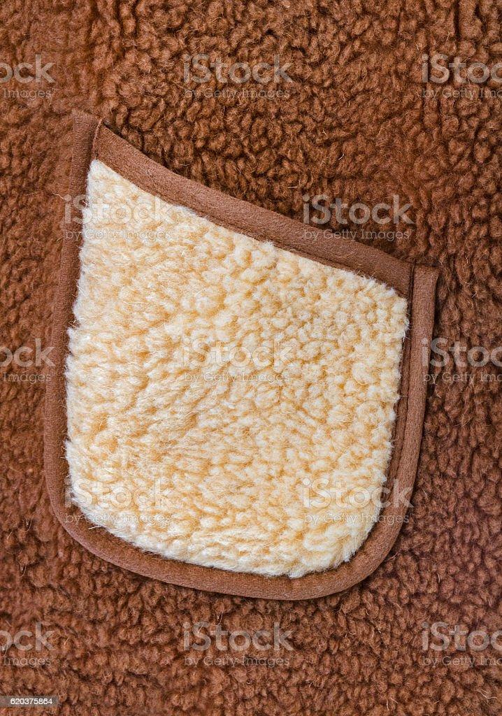 Pocket on woolly jacket stock photo