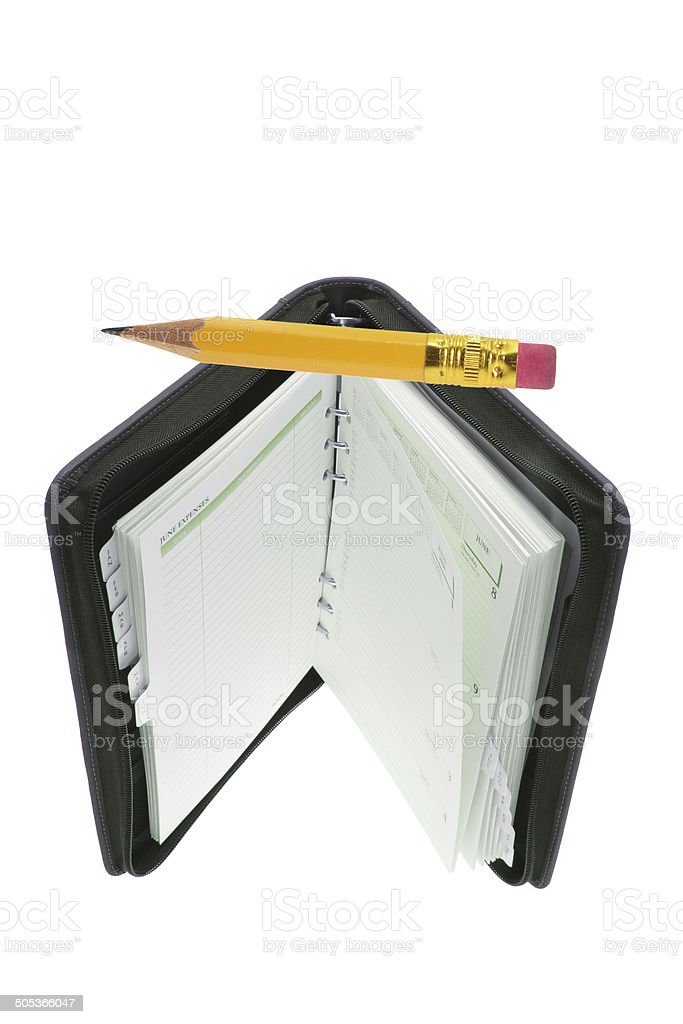 Pocket Organizer and Pencil stock photo