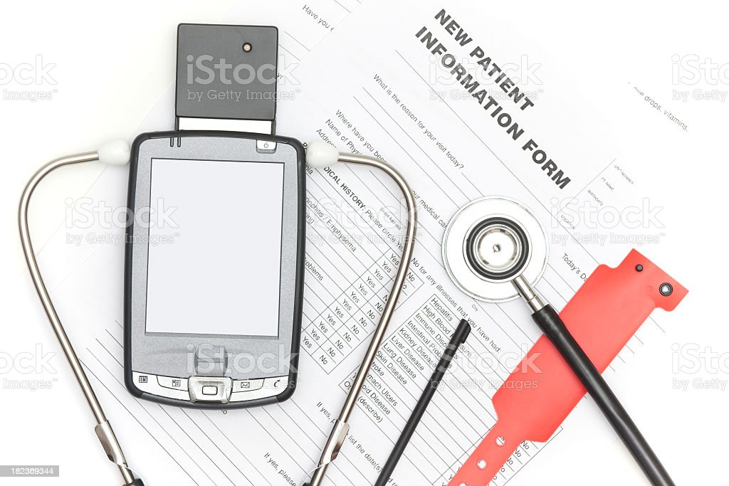 Pocket PC and Stethoscope royalty-free stock photo