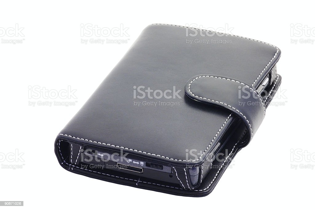pocket pc, leather case (closed, isolated) stock photo