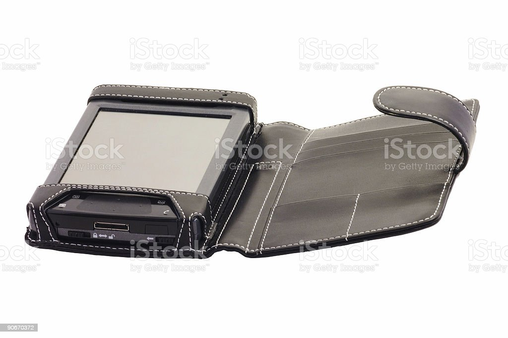 pocket pc, with leather case (isolated) stock photo
