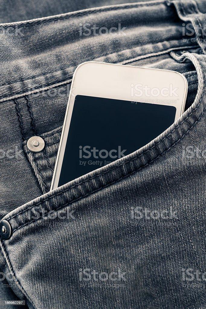 Pocket Phone Jean stock photo