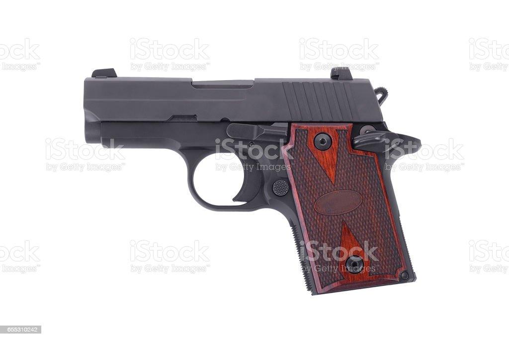 Pocket Pistols-semi automatic 9 m.m handgun pistol isolated on white background stock photo