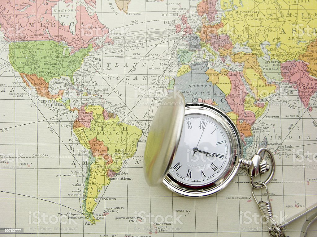 Pocket Watch and Map stock photo