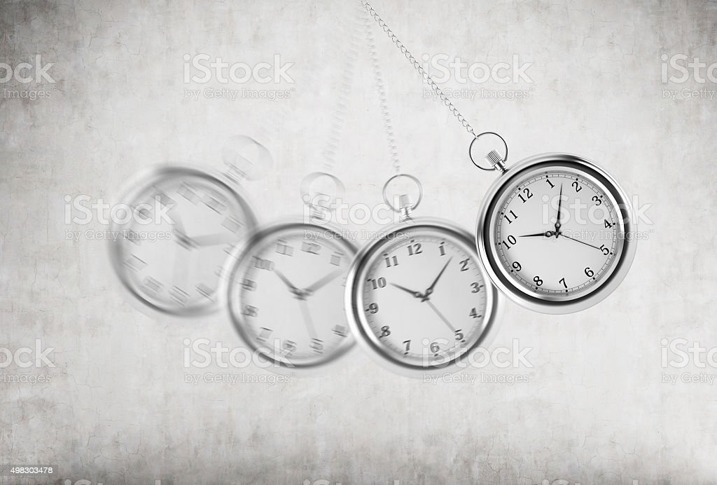 pocket watch as a swing of the pendulum. stock photo