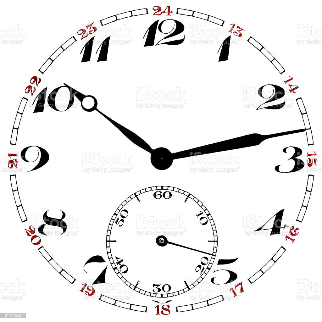 Pocket watch clock face isolated stock photo