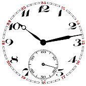 Pocket watch clock face isolated