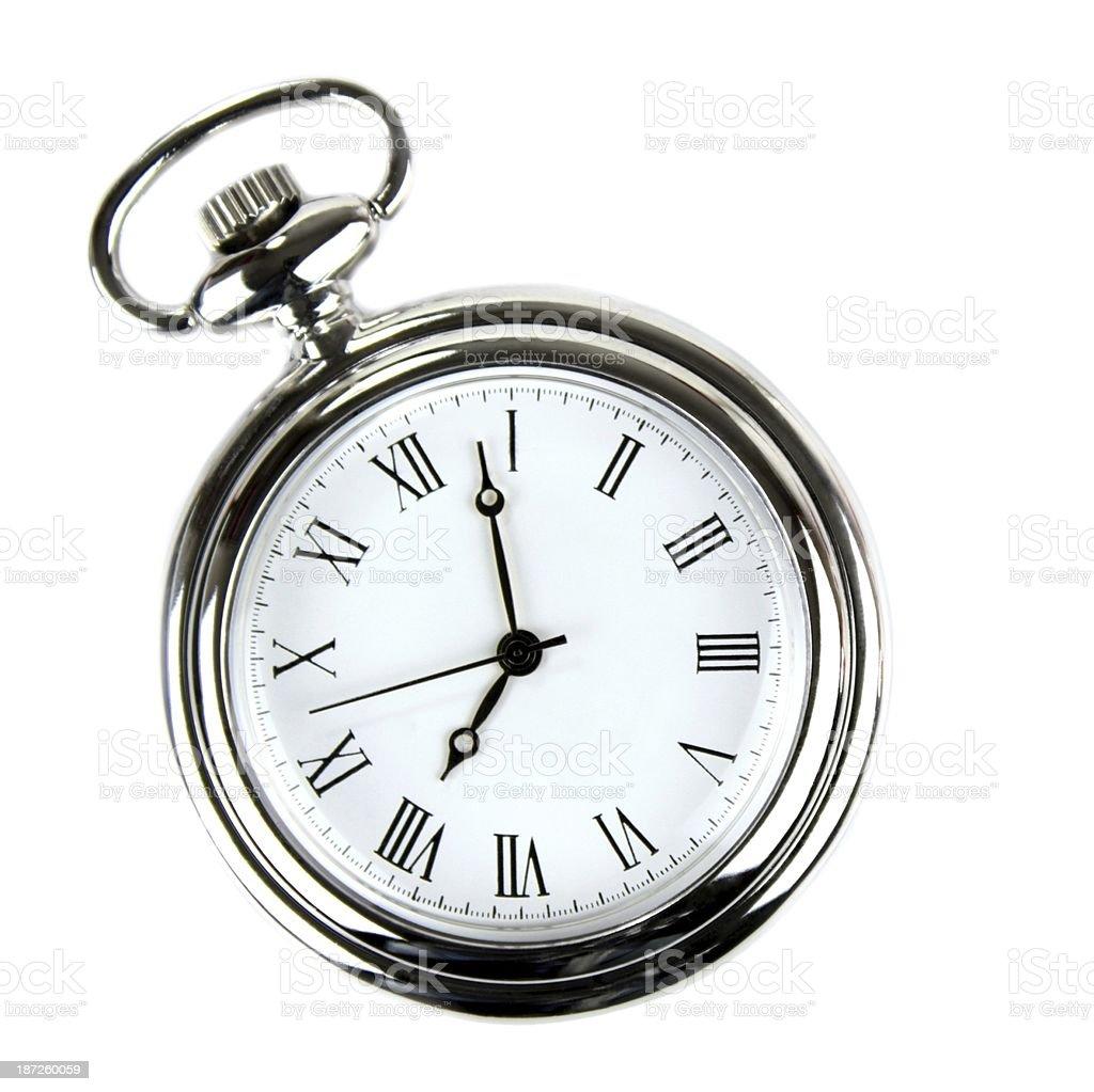 Pocket watch isolated on white background. stock photo