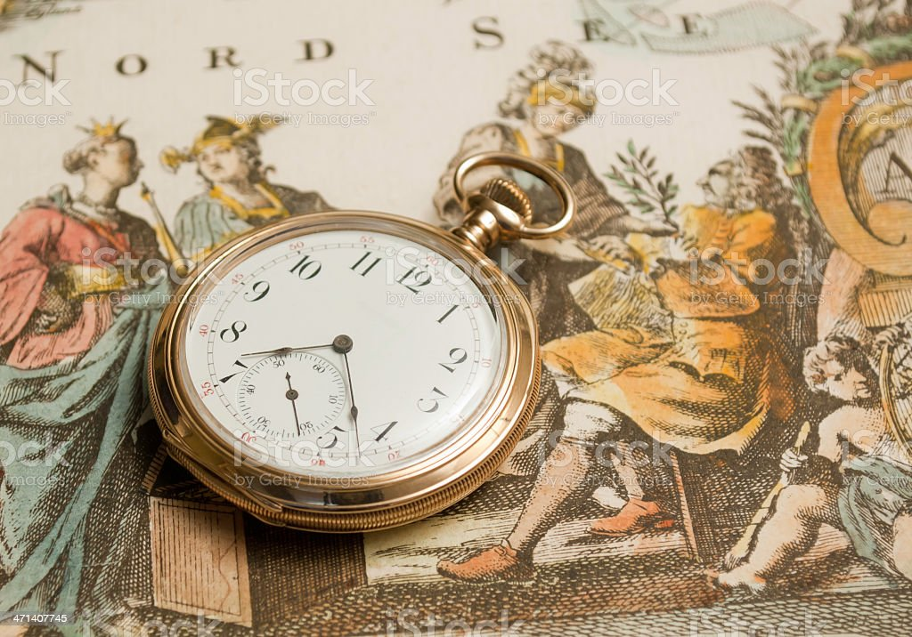 Pocket Watch on 18th Century Print royalty-free stock photo