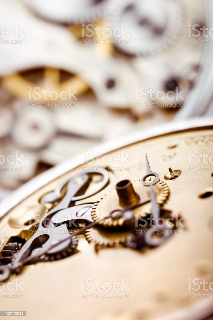 Pocket watch parts stock photo