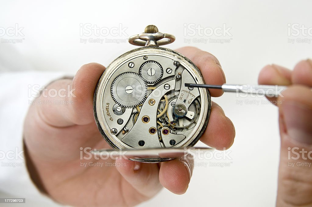 Pocket watch repair. stock photo