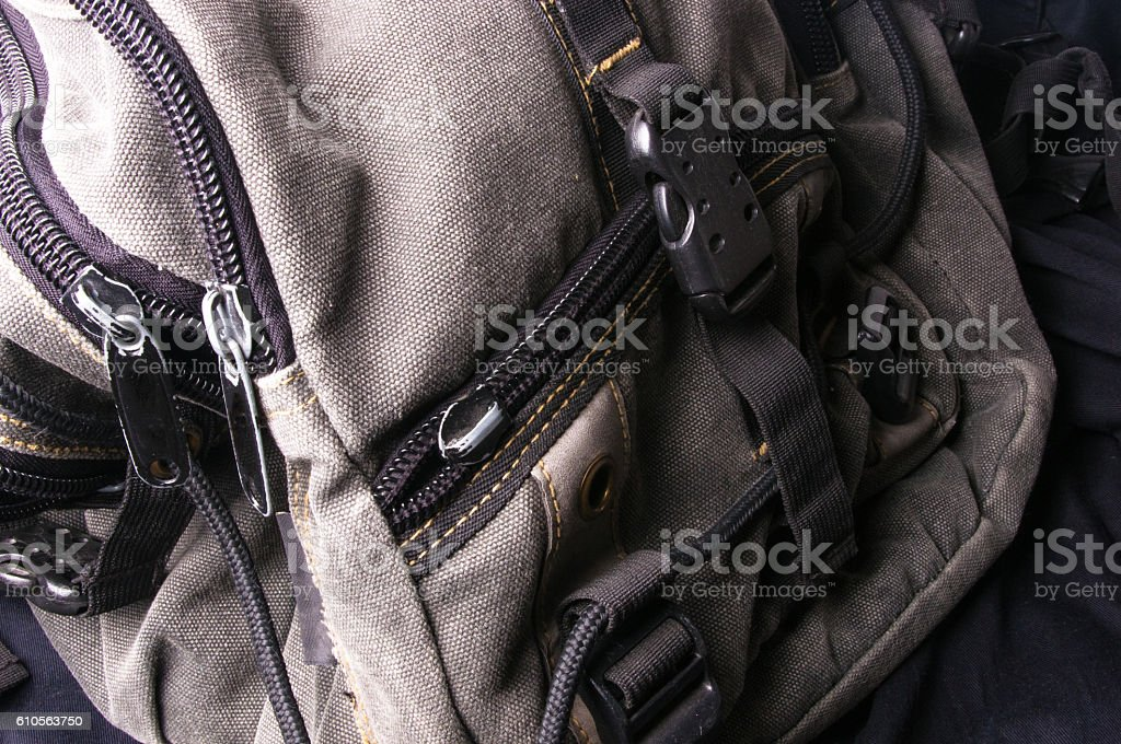pockets in the backpack stock photo