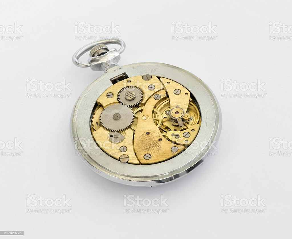 Pocket-watch on a  white background. stock photo