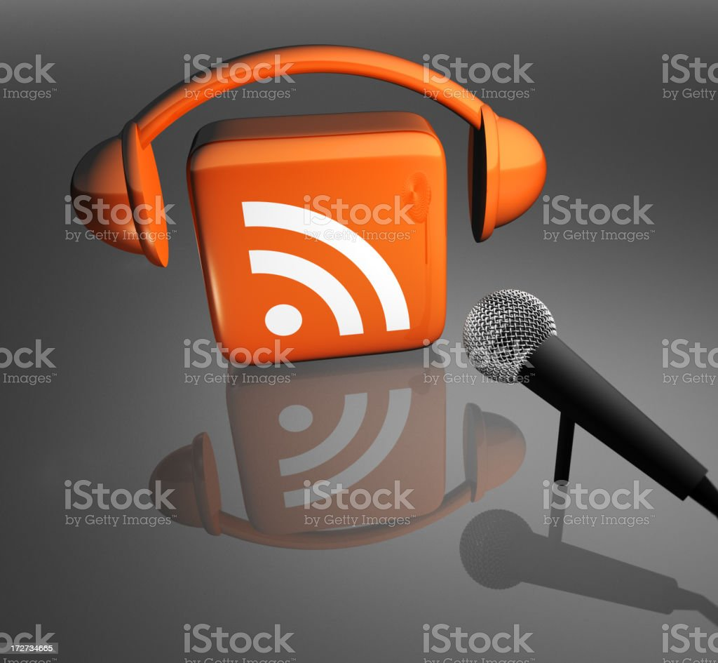 Podcast Icon With Microphone royalty-free stock photo