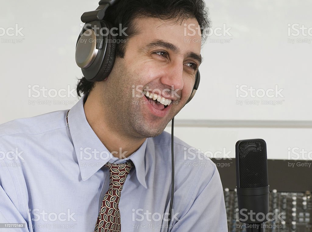 Podcaster Laughing royalty-free stock photo