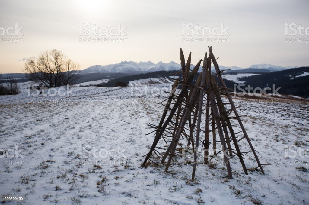 Podhale in winter stock photo