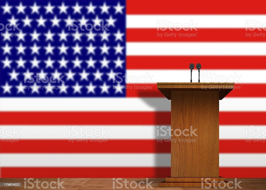 Podium and American Flag royalty-free stock photo