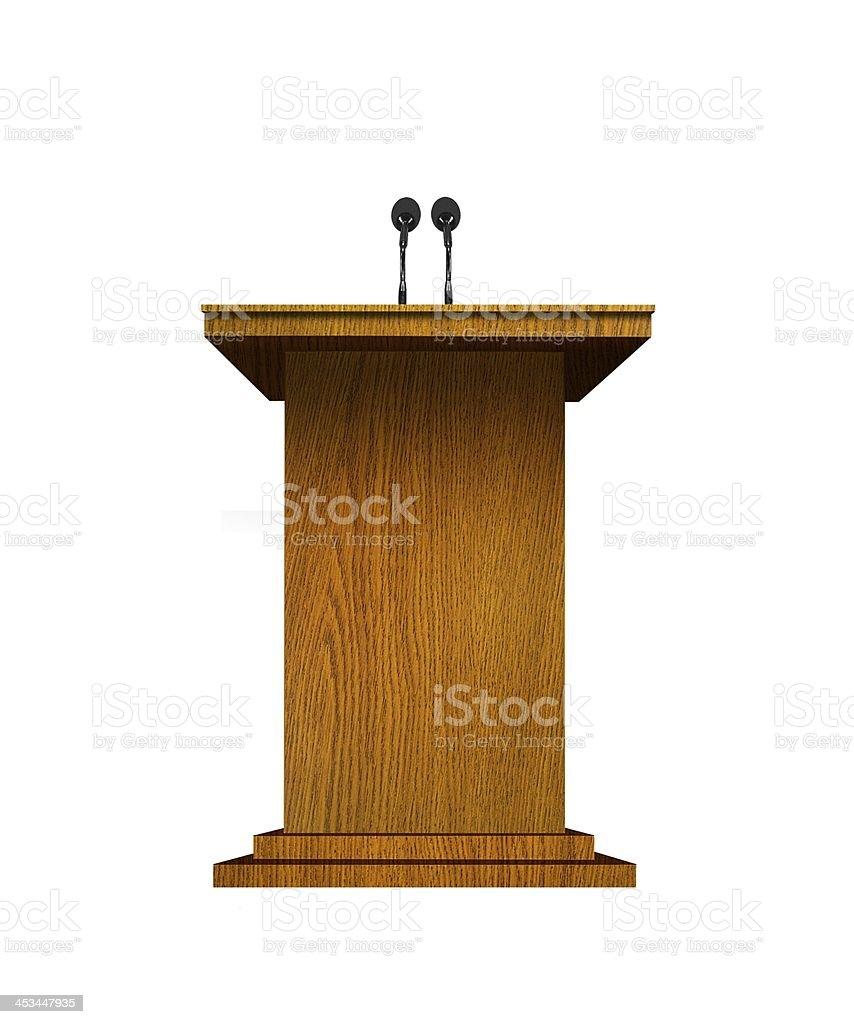 Podium and microphones over white stock photo