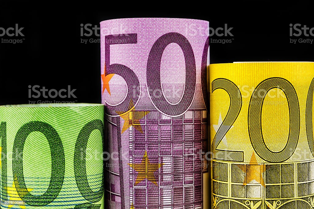 podium made of big euro banknotes stock photo