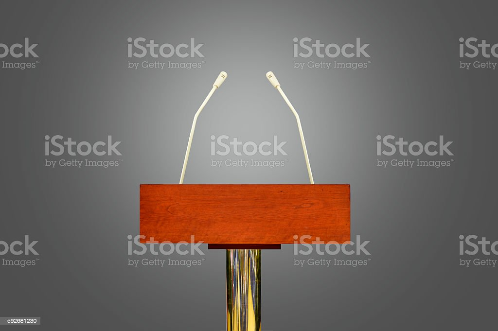 podium ready to address stock photo