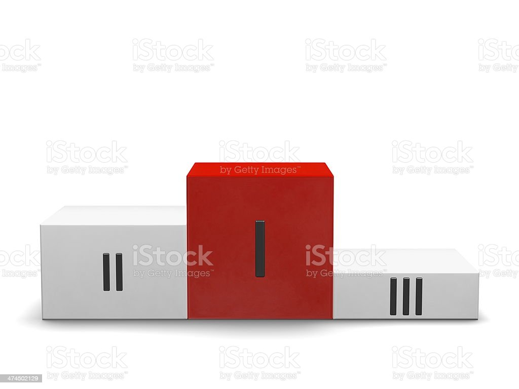 Podium, red cube for first place, Roman numerals. Front view royalty-free stock photo