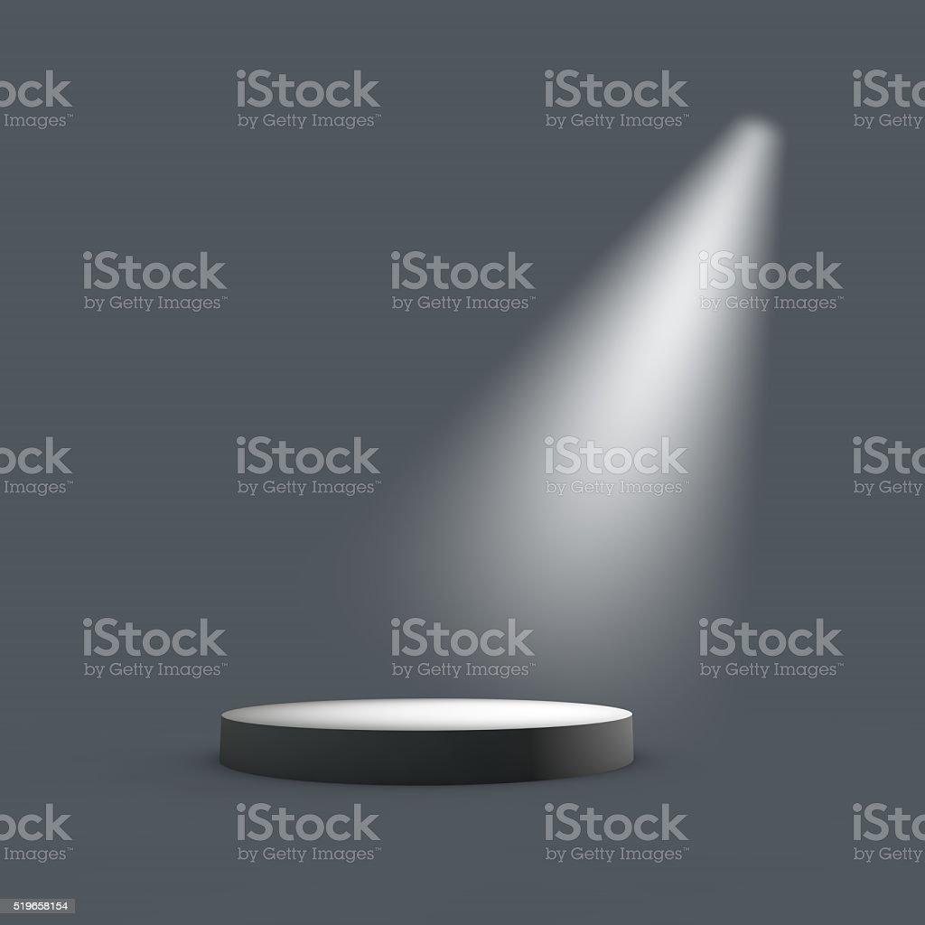 Podium stage in a spotlight stock photo