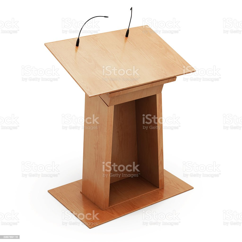Podium tribune with microphones isolated on white background. 3d stock photo
