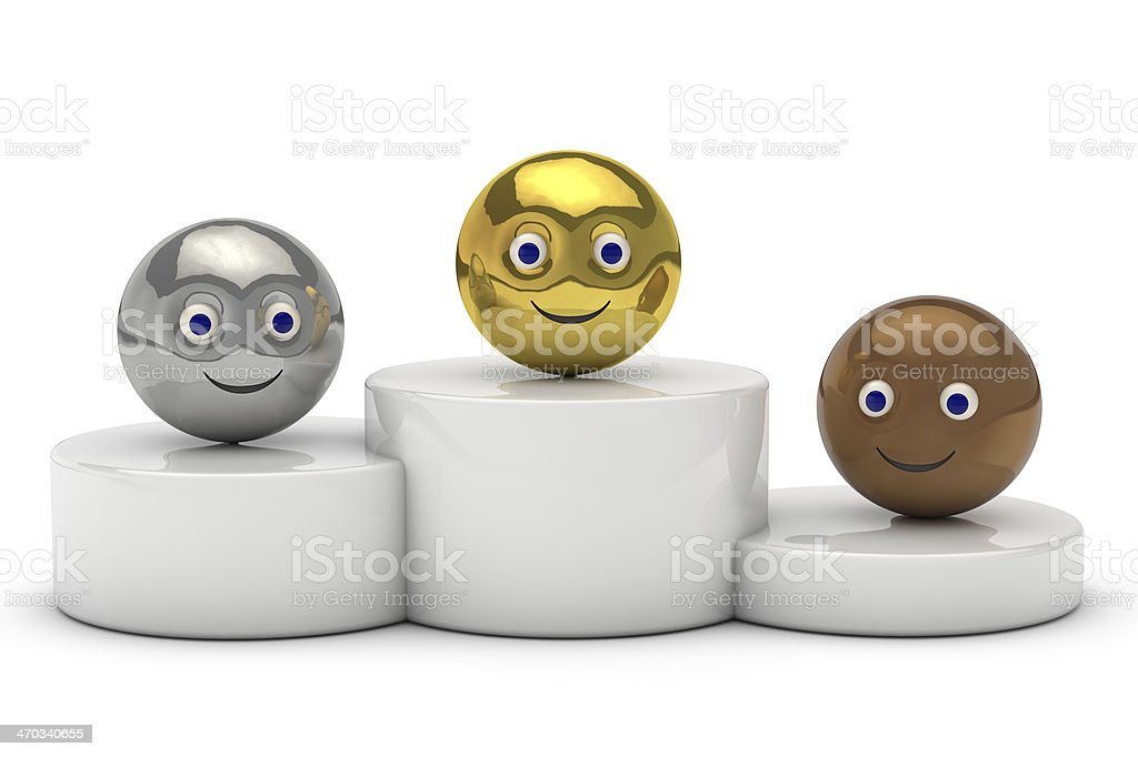 podium with 3d ball smiley symbol royalty-free stock photo