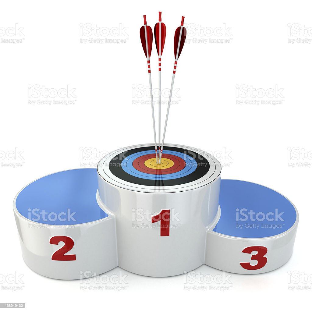 Podium with target  and arrows on first place. stock photo