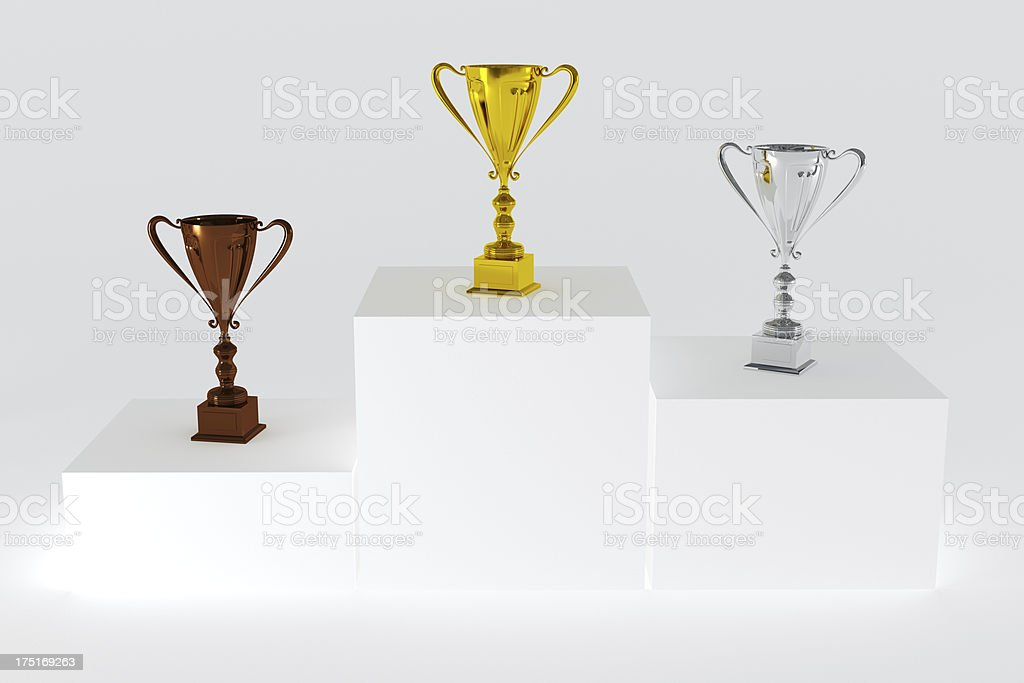 Podium with Trophies royalty-free stock photo