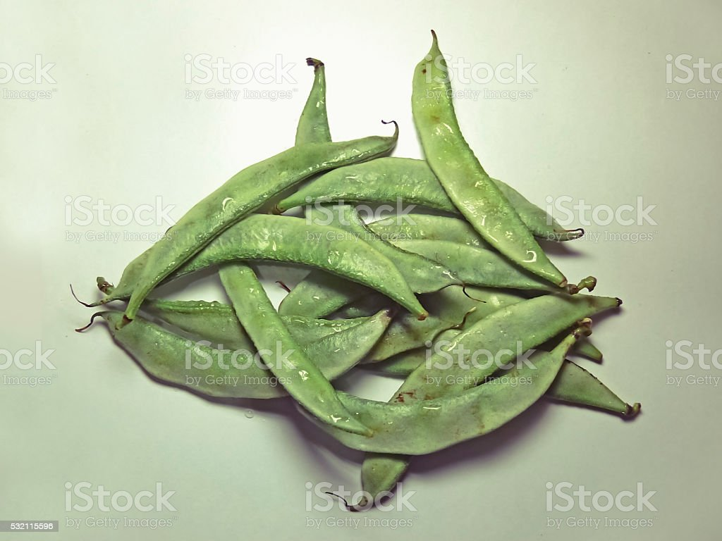 Pods of Papdi Beans, Dolichos lablab stock photo