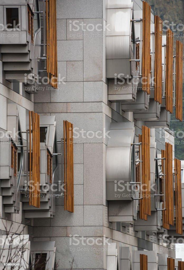 Pods on the MSP Building in Edinburgh stock photo
