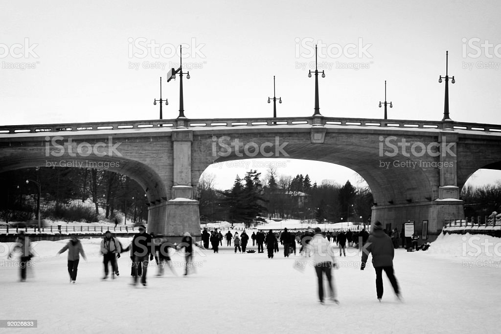 Poeple Skating in Ottawa royalty-free stock photo