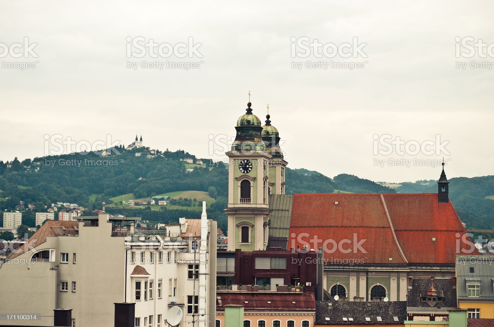 Poestlingberg Church and the Old Dome of Linz royalty-free stock photo