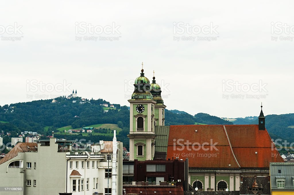 Poestlingberg Church and the Old Dome of Linz stock photo