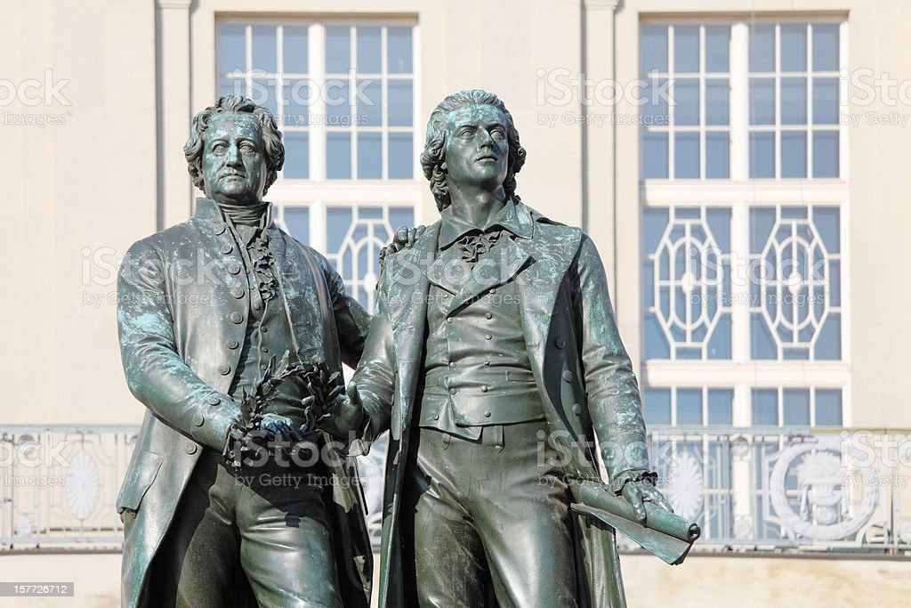 poet stautes Goethe and Schiller in Weimar stock photo