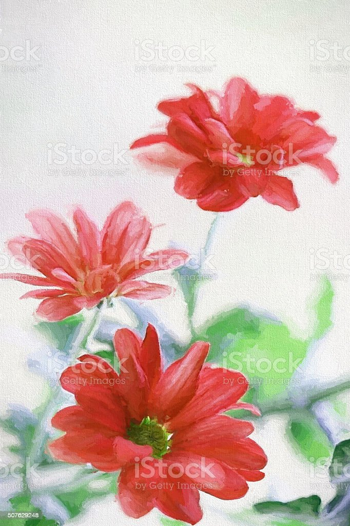 Poetic red flowers watercolor. Large XXXL background. stock photo
