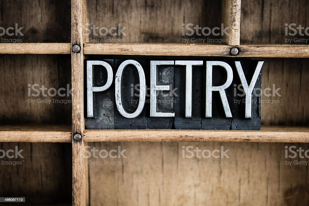 Poetry Concept Metal Letterpress Word in Drawer stock photo
