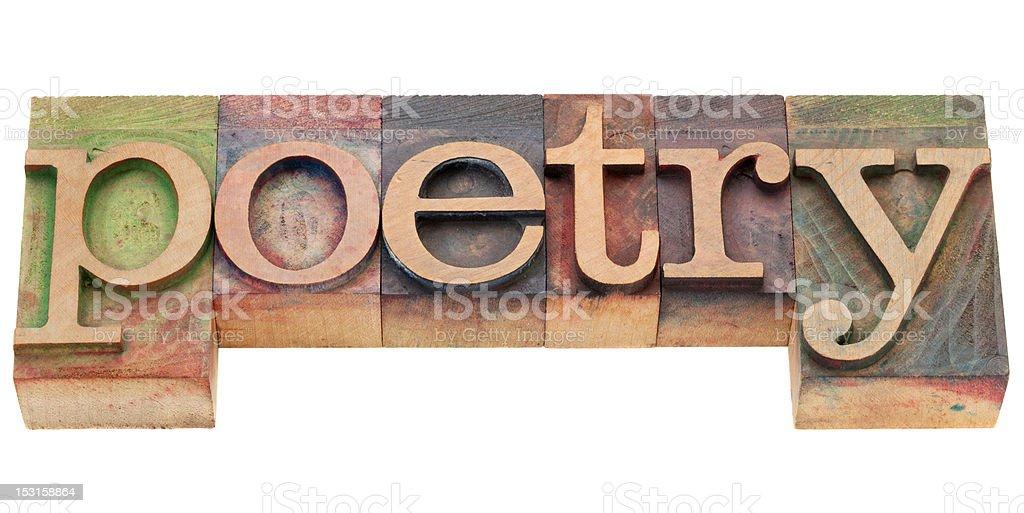 poetry in letterpress type stock photo