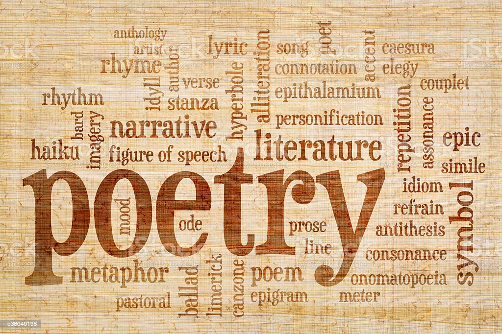 poetry word cloud on papyrus paper stock photo