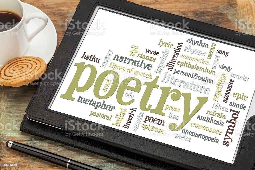poetry word cloud stock photo