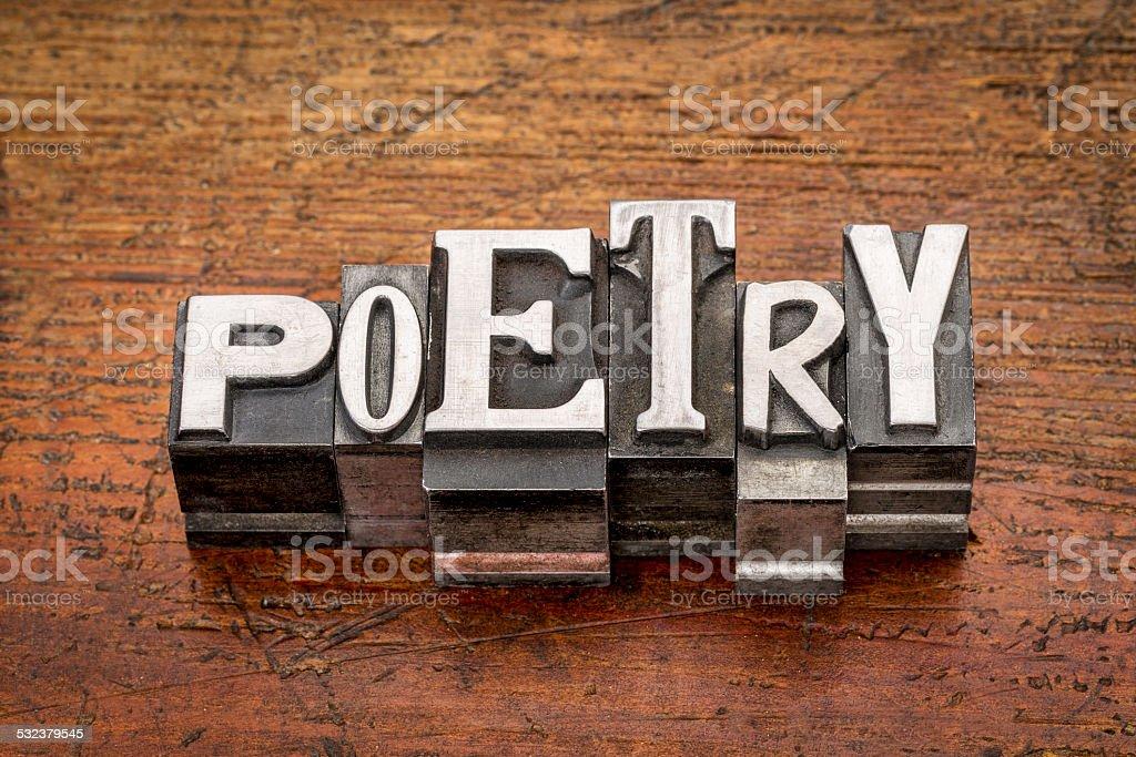poetry word in metal type stock photo