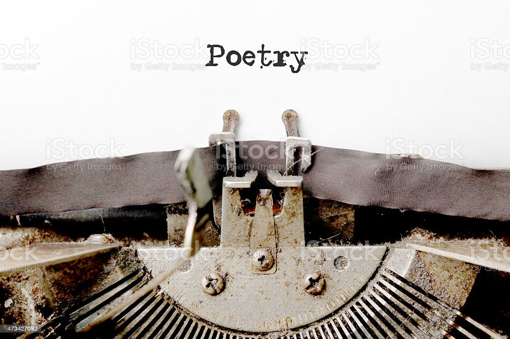 poetry word made by typewriter stock photo