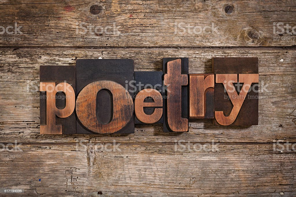 poetry written with letterpress type stock photo