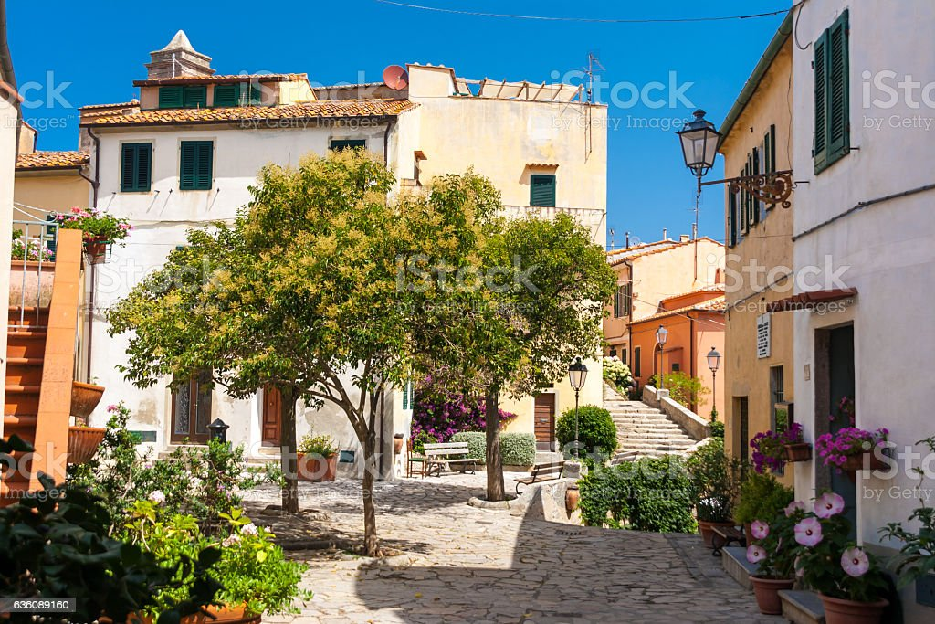 Poggio village in Elba Island, Italy stock photo