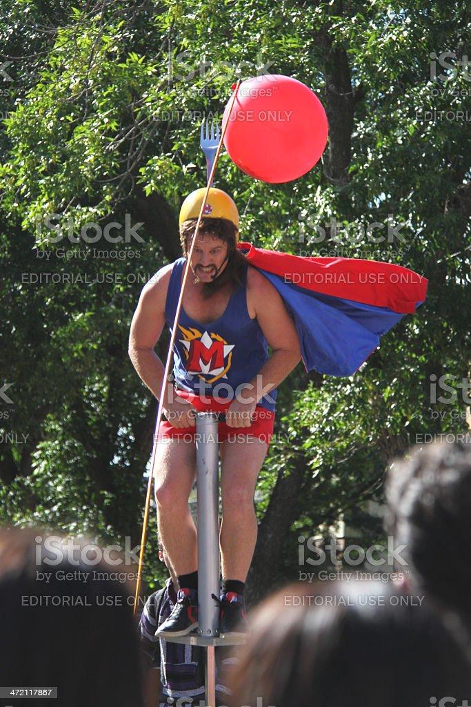 Pogo-stick man stock photo