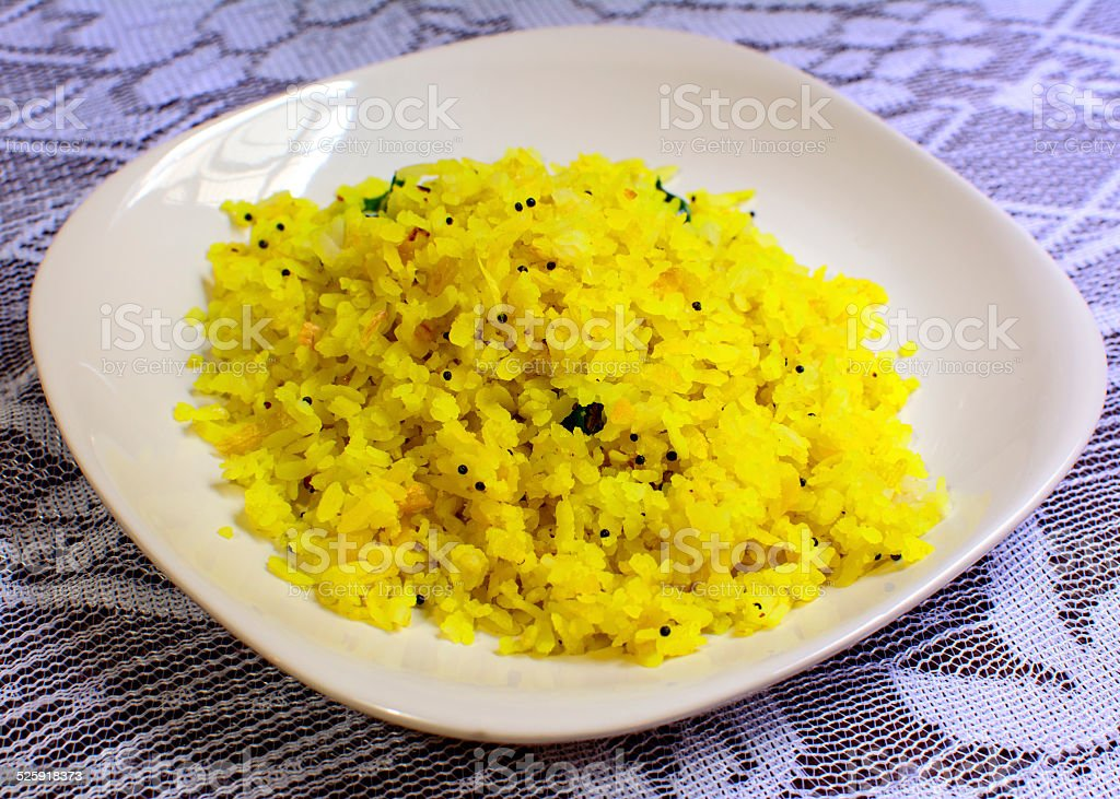 Poha: a popular Indian snack stock photo