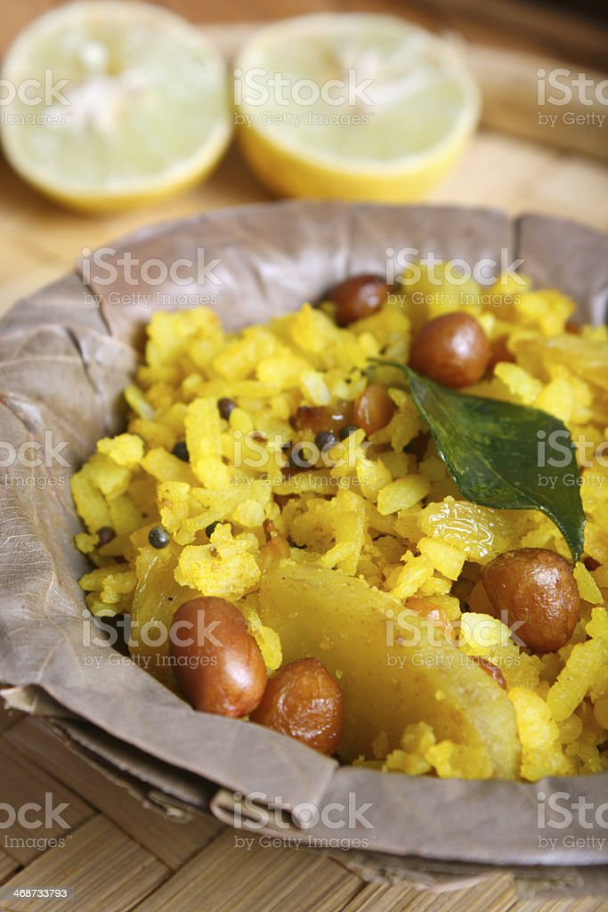 Poha – A snack made of beaten rice stock photo