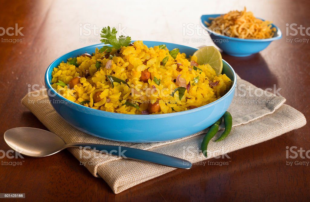 Poha - Popular Indian Breakfast stock photo